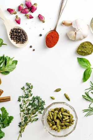 Fresh herbs and dried colorful spices in spoons and bowls arranged in frame on white background with copy space inside Stock Photo