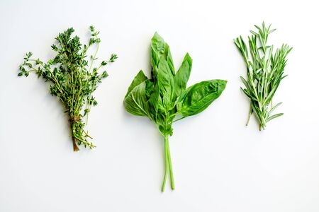 Rosemary, basil and thyme herbs on white background