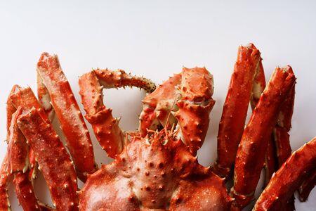 Big whole alaskan crab on white background