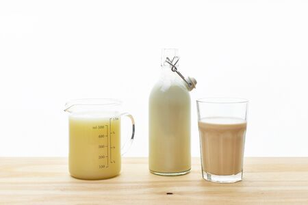 Dairy alternative for lactose intolerance. Almond, soy and oat milk. Healthy drink, protein source. Reklamní fotografie