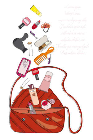 perfumery concept: Womens bag and cosmetics on a neutral background Illustration