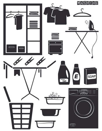 Wash icons on a neutral background