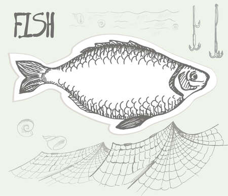 fish net: Fish, net and hooks on a neutral background