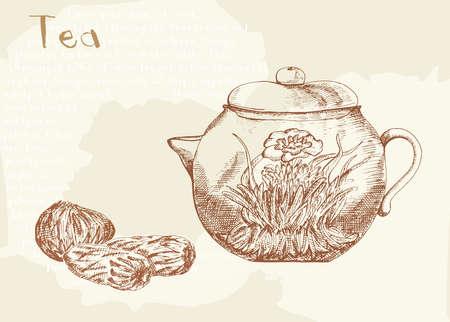 risen: Risen tea and tea, hand drawing illustration