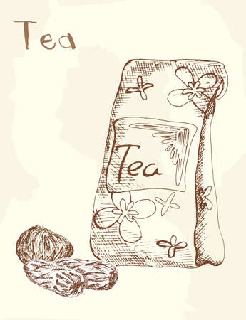 risen: Risen tea packaging, hand drawing Illustration