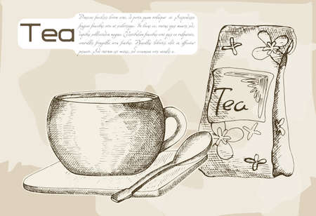 brewed: Tea brewed in a cup, hand drawing on a neutral background