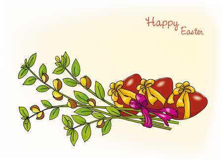 neutral background: Handmade drawing on the theme of Easter, neutral background