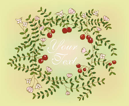cranberries: Pattern with elements of cranberries on a colored background