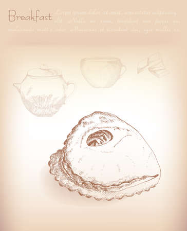 puff pastry: Food for breakfast, vector illustration