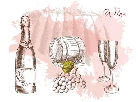 Wijn en wijnbouw, illustratie op een mooie achtergrond gemaakt door handen