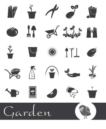 sapling: 25 black and white icons on the theme of the garden