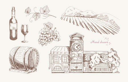 winemaking: Wine and Winemaking, set of vector sketches