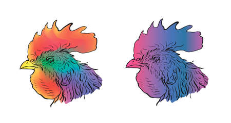 Ð¡olored chicken heads illustration.