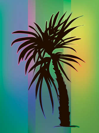 Tropical vector illustration. Palm tree at beautiful gradient background. Illustration