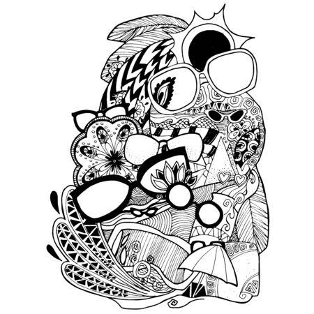 black liner illustration of sun glasses umbrella.doodle.