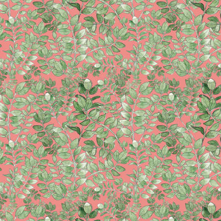 watercolor illustration seamless pattern from green branches with leaves for wallpaper or fabric