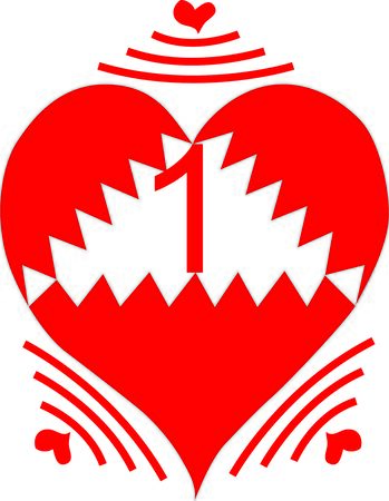 1: Number 1 One Heart Wifi Illustration