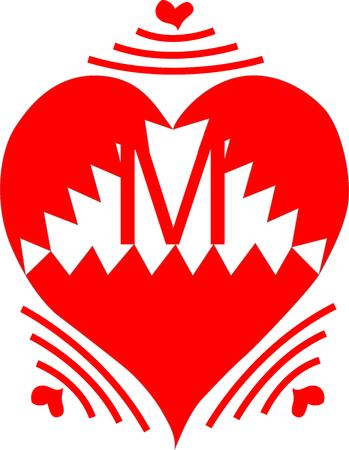 Wireless Heart Letter M