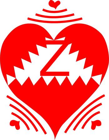Wireless Heart Letter Z