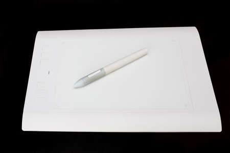 digitizer: White Pen graphics tablet with the red button