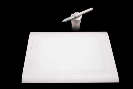 prepress: White Pen graphics tablet with the red button