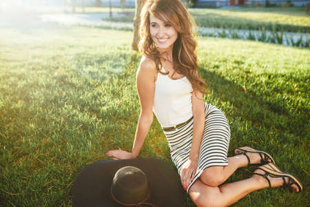 slob: brunette in a hat with large fields Stock Photo