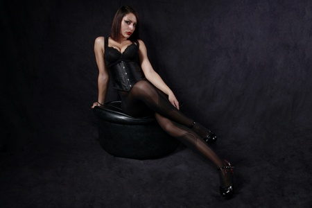 Beautiful woman all in black photo