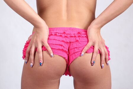 Sexy hot booty in pink silk panties