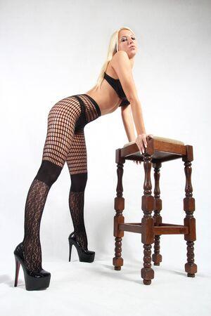 Rubia modelo de Playboy en medias del cuerpo Foto de archivo - 18008883