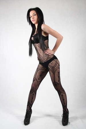 Sexy model in black stockings