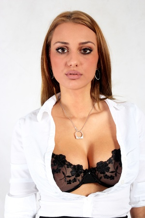 Young model portrait in bra