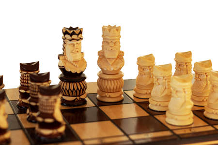 chess board and chess figures isolated on white