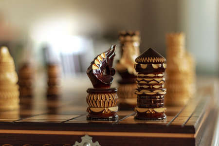 knight rook chess figures in the corner of the playing board