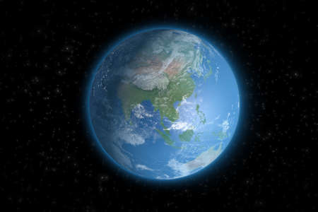 Planet Earth from space showing Asia.