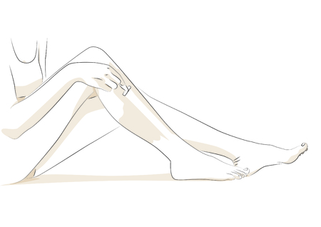 Vector illustration of a woman shaving her legs