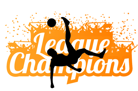 Vector silhouette of a football player bicycle kick in front of a League Champions typography design Vetores