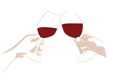 Vector illustration of celebrating hands tossing wine glasses