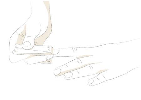 Vector illustration of cutting finger nails