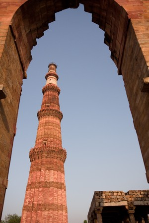 minar: Qutab Minar  through arch, Delhi, India