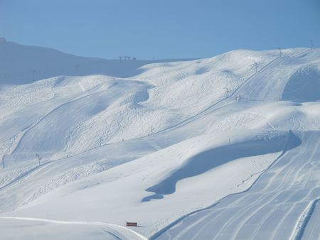 Extensive ski piste and powder snow off piste. Skiing Les Contamines, French alps Stock Photo - 8031659