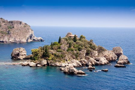 scenary: Sea of Sicily; Taormina beach with Isola Bella