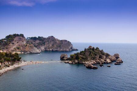 bella: Sea of Sicily; Taormina beach with Isola Bella