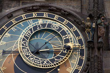 The ancient astronomical Clock in Prague Czech republic photo