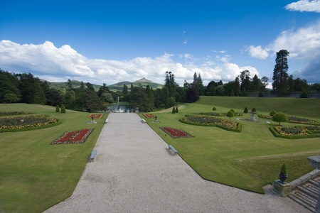 waterweed: Powerscourt gardens showing beautiful Irish country estate with Wicklow mountains visible in the distance