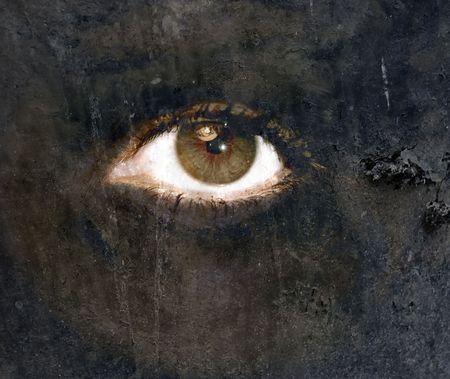 depressione: Un trattamento arte digitale creazione di un occhio in CS3.Representation del personale caos, depressione o problemi mentali