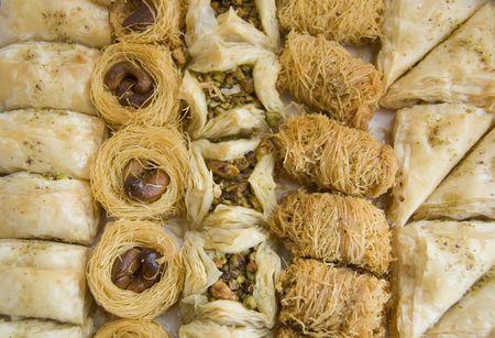 Dessert.ARABIC SWEET PASTRIES with honey Stock Photo