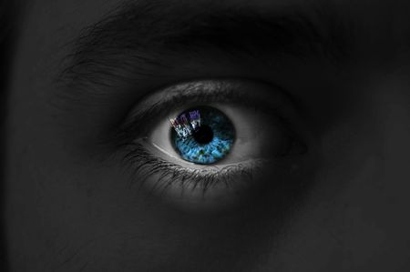 Eye isolated man blue color, isolate