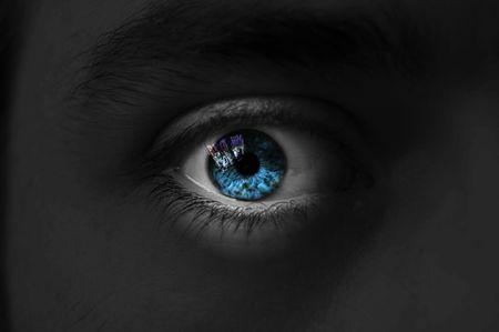 눈 격리 된 남자 블루 컬러, 격리