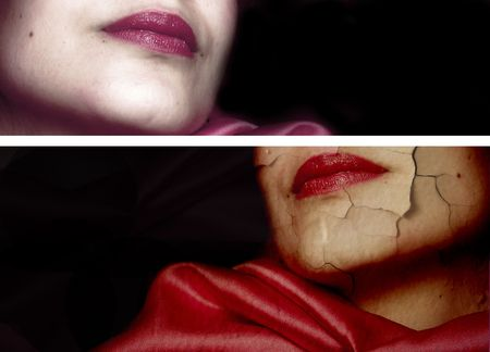 Diptych of women. Conceptual work: over time, old, beautiful, stress
