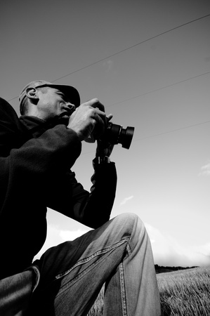 Man and style life, hobbies, relax,photographer and conceptual